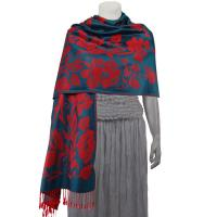 Pashmina Style Shawls-Woven Jacquard and Two-Tone  - Butterflies and Flowers - Seagreen/Red