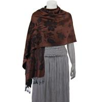 Pashmina Style Shawls-Woven Jacquard and Two-Tone  - Butterflies and Flowers - Brown/Black