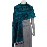 Pashmina Style Shawls-Woven Jacquard and Two-Tone  - Butterflies and Flowers - Teal/Black