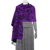 Pashmina Style Shawls-Woven Jacquard and Two-Tone  - Butterflies and Flowers - Purple/Black