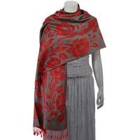 Pashmina Style Shawls-Woven Jacquard and Two-Tone  - Butterflies and Flowers - Pewter/Red