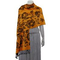 Pashmina Style Shawls-Woven Jacquard and Two-Tone  - Butterflies and Flowers - Gold/Black