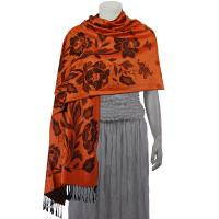 Pashmina Style Shawls-Woven Jacquard and Two-Tone  - Butterflies and Flowers - Paprika/Black