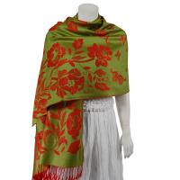 Pashmina Style Shawls-Woven Jacquard and Two-Tone  - Butterflies and Flowers - Green/Red