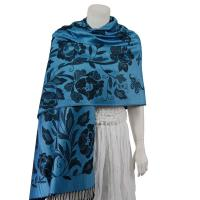 Pashmina Style Shawls-Woven Jacquard and Two-Tone  - Butterflies and Flowers - Denim/Black