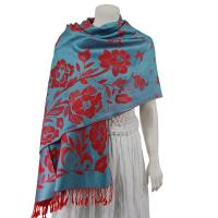 Pashmina Style Shawls-Woven Jacquard and Two-Tone  - Butterflies and Flowers - Pale Blue/Red
