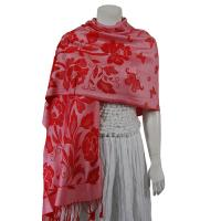 Pashmina Style Shawls-Woven Jacquard and Two-Tone  - Butterflies and Flowers - Pink/Red