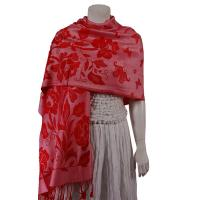 Pashmina Style Shawls-Woven Jacquard and Two-Tone  - Butterflies and Flowers - Mauve/Red