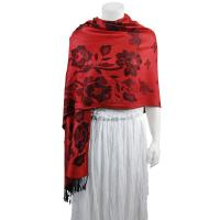 Pashmina Style Shawls-Woven Jacquard and Two-Tone  - Butterflies and Flowers - Red Brick/Black