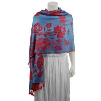 Pashmina Style Shawls-Woven Jacquard and Two-Tone  - Butterflies and Flowers - Denim/Red
