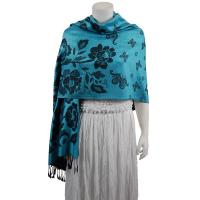 Pashmina Style Shawls-Woven Jacquard and Two-Tone  - Butterflies and Flowers - Powder Blue/Black