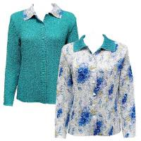 Overstock Tops - Magic Crush Reversible Jacket - Roses Blue on White
