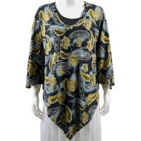 Overstock Tops - Slinky Style Poncho - Leaves and Paisley Gold/Silver