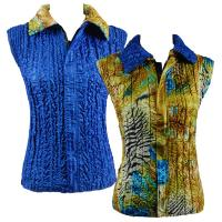 Overstock Tops - Reversible Vest - Abstract Zebra Gold-Blue reverses to Solid Royal