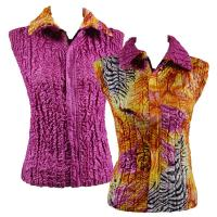 Overstock Tops - Reversible Vest - Abstract Zebra Orange-Pink reverses to Solid Orchid