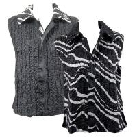 Overstock Tops - Reversible Vest - Ribbon Black-White reverses to Solid Black