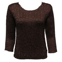 Overstock Tops - Magic Crush Satin Three Quarter - Solid Dark Brown