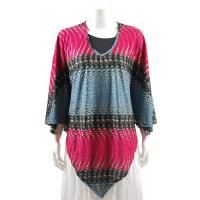 Overstock Tops - Slinky Style Poncho - Ribbon and Circles Denim/Magenta