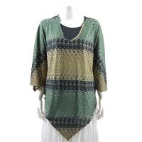 Overstock Tops - Slinky Style Poncho - Ribbon and Circles Green/Gold