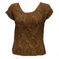 Overstock Tops - Magic Crush Diamond Cap Sleeve - Nutmeg