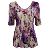 Overstock Tops - Satin Mini Pleats Half Sleeve V-Neck - Abstract Floral Raspberry-Navy