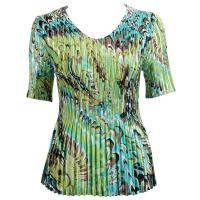 Overstock Tops - Satin Mini Pleats Half Sleeve V-Neck - Lime-Aqua Peacock