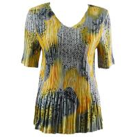 Overstock Tops - Satin Mini Pleats Half Sleeve V-Neck - Patchwork Swirl Yellow-Silver