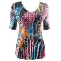 Overstock Tops - Satin Mini Pleats Half Sleeve V-Neck - Patchwork Circle Bright Tones