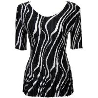 Overstock Tops - Satin Mini Pleats Half Sleeve V-Neck - Ribbon Black-White