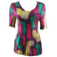 Overstock Tops - Satin Mini Pleats Half Sleeve V-Neck - Spots Purple-Pink-Green-Yellow