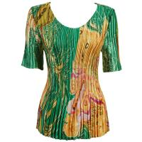 Overstock Tops - Satin Mini Pleats Half Sleeve V-Neck - Swirl Green-Gold