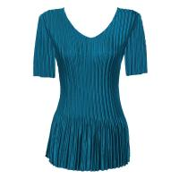 Overstock Tops - Satin Mini Pleats Half Sleeve V-Neck - Solid Dark Teal