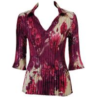 Overstock Tops - Satin Mini Pleats Three Quarter w/ Collar - Rose Floral - Berry