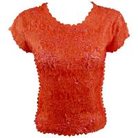 Overstock Tops - Origami Cap Sleeve - Orange-Flamingo