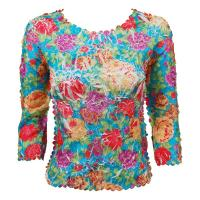 Overstock Tops - Origami Three Quarter Sleeve - Summer Floral-White