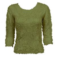 Overstock Tops - Origami Three Quarter Sleeve - Solid Olive