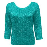 Overstock Tops - Magic Crush Silky Touch Three Quarter - Solid Bright Teal