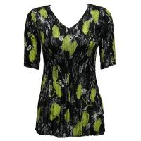 Overstock Tops - Georgette Mini Pleats Half Sleeve V-Neck - Black-Kiwi Floral