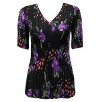 Overstock Tops - Georgette Mini Pleats Half Sleeve V-Neck - Black-Purple Floral