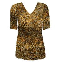 Overstock Tops - Georgette Mini Pleats Half Sleeve V-Neck - Leopard Print