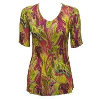 Overstock Tops - Georgette Mini Pleats Half Sleeve V-Neck - Pink-Lime Paisley