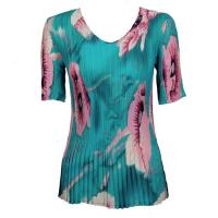 Overstock Tops - Georgette Mini Pleats Half Sleeve V-Neck - Poppies Aqua