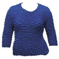 Overstock Tops - Silky Touch Popcorn Three Quarter Sleeve - Solid Royal