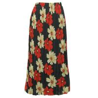 Overstock Skirts - Georgette Mini Pleat Skirt Ankle Length - Hibiscus Red-Tan