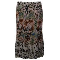 Overstock Skirts - Georgette Mini Pleat Skirt Calf Length - Reptile Floral Light Green