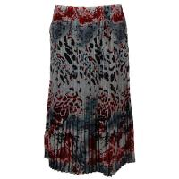 Overstock Skirts - Georgette Mini Pleat Skirt Calf Length - Reptile Floral Red