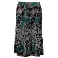 Overstock Skirts - Georgette Mini Pleat Skirt Calf Length - Reptile Floral Teal