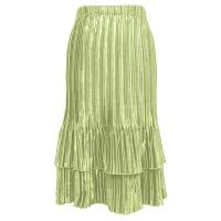 Overstock Skirts - Satin Mini Pleat Tiered Skirt - Solid Celery