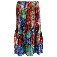 Overstock Skirts - Satin Mini Pleat Tiered Skirt - Abstract Blue Red