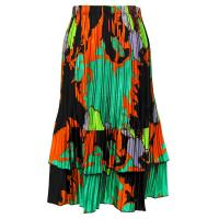 Overstock Skirts - Satin Mini Pleat Tiered Skirt - Cukoo Green